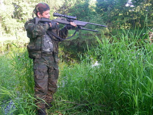 Лесной снайпинг. Работа на позиции стоя.